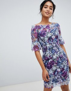Read more about Paper dolls off shoulder crochet midi dress with frill sleeve in printed lace