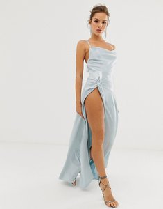 Read more about Asos design maxi dress with thigh split and cowl neck in satin