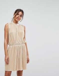 Read more about Aeryne sleeveless velvet pleated dress - pale gold