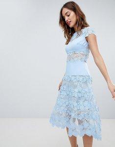 Read more about Bronx banco applique midi sky dress - blue