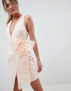 Read more about Asos design wrap organza bow front midi dress - nude