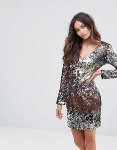 Read more about Club l v neck ombre sequin mini dress - multi