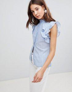 Read more about Glamorous sleeveless stripe shirt with ruffle - blue stripe