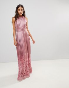 Read more about Little mistress ruffle high neck maxi dress with lace pleated skirt - rose