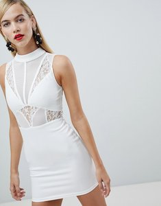 Read more about Rare london high neck lace panel mini dress - white