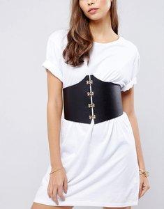 Read more about Asos clip front corset waist belt - black