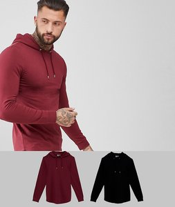 Read more about Asos longline muscle fit hoodie 2 pack with curved hem in black burgundy save - mu1 - multi 1