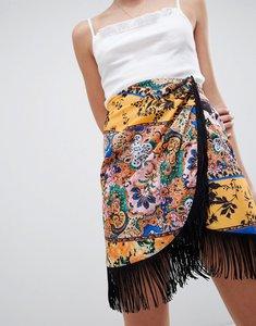Read more about Asos design scarf print wrap mini skirt with fringe hem - multi