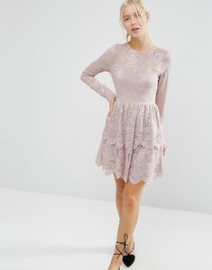 Read more about Asos mini skater dress with lace tiered hem - mink