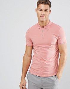Read more about Asos muscle fit jersey polo - flamingo