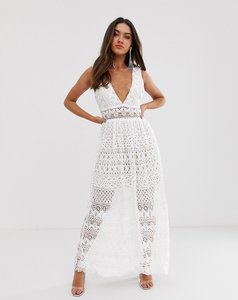 Read more about Love triangle plunge front delicate lace maxi dress in white