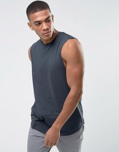 Read more about Asos longline vest with dropped armhole and curve hem in grey - atlantic