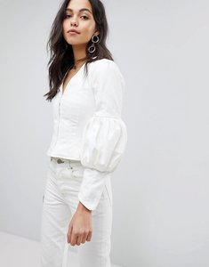 Read more about Asos design denim top with sleeve detail in off white - white