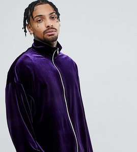 Read more about Reclaimed vintage inspired track jacket in purple velvet - purple