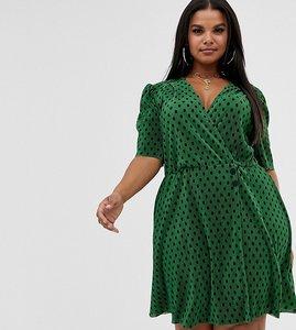 Read more about Asos design curve spot print plisse mini dress with button detail