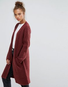 Read more about B young long knitted cardigan - red wine