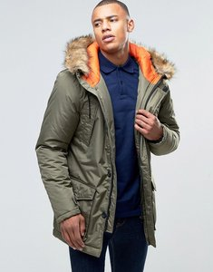 Read more about D-struct faux fur trimmed parka jacket - green