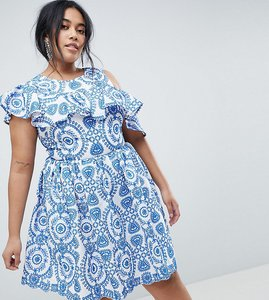 Read more about Asos curve premium sleeveless broderie skater dress with ruffle and open back - multi