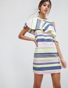 Read more about Asos sleeveless ruffle shift dress in natural stripe - multi