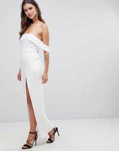 Read more about Asos design bardot strap maxi dress with thigh split - ivory