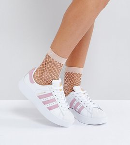 Read more about Adidas originals white and pink superstar bold sole trainers - white