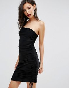 Read more about Club l slinky bandeau ruched detail dress - black