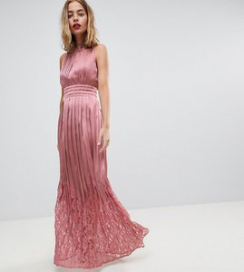 Read more about Little mistress petite ruffle high neck maxi dress with lace pleated skirt - rose