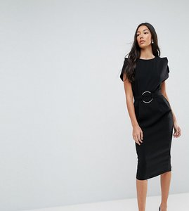 Read more about Asos tall split sleeve cap sleeve midi dress with circle belt - black