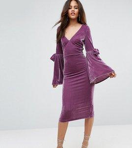 Read more about Asos tall velvet flute sleeve midi dress - dusky purple