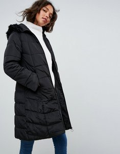 b3238dfff98 Read more about Asos longline puffer coat with faux fur trim hood - black