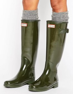 Read more about Hunter original refined gloss dark olive tall wellington boots - dark olive