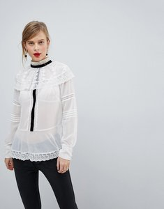 Read more about Asos premium historical lace blouse with contrast detail - ivory