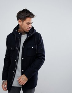 Read more about Bershka wool jacket with hood and double pocket in navy - navy