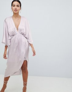 Read more about Asos design midi plunge kimono dress in satin - silver grey