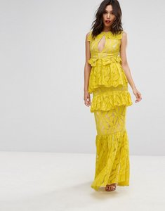 Read more about Prettylittlething frill detail fishtail lace maxi dress - chartruese