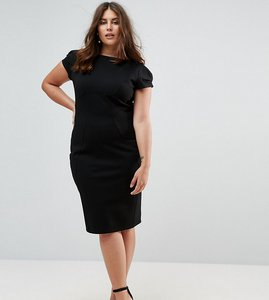 Read more about Closet london plus pencil dress with ruched cap sleeve - black