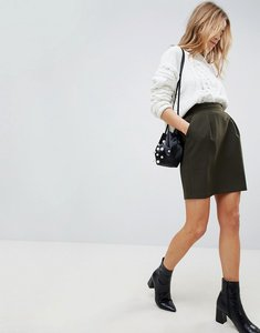 Read more about Asos tailored ruffle paperbag waist a-line mini skirt - khaki
