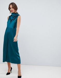 Read more about Asos design minimal satin jumpsuit with cowl neck - forest green