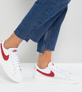 Read more about Nike blazer trainers in white and red - white