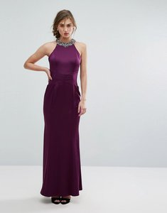 Read more about Little mistress embellished high neck fishtail maxi dress - plum
