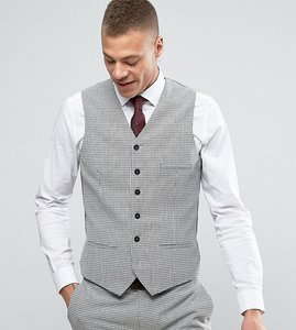 Read more about Heart dagger super skinny waistcoat in summer dogstooth - pale grey