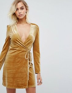 Read more about Fashion union wrap dress in golden velvet - gold velvet