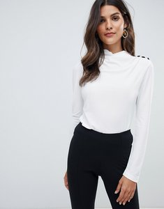 Read more about Asos high drape neck top with button detail - white