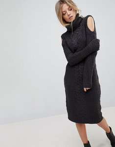 Read more about Qed london high neck midi dress with cold shoulder detail - charcoal marl