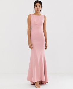Read more about Jarlo maxi dress with lace open back and train in pink