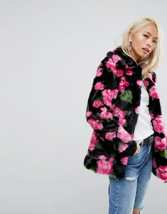 Read more about Jakke mid length faux fur coat in floral print - rose print
