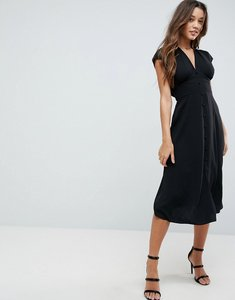 Read more about Asos button through midi dress with bow back detail - black