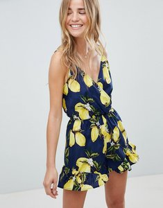 Read more about Parisian lemon print cami playsuit with frill shorts - navy yellow