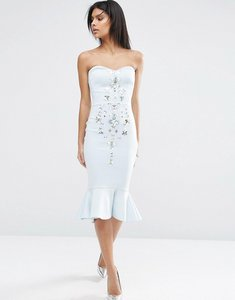 Read more about Asos pephem bandeau embellished midi dress - pale blue