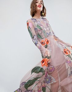 Read more about Asos edition embroidered floral maxi dress - pink